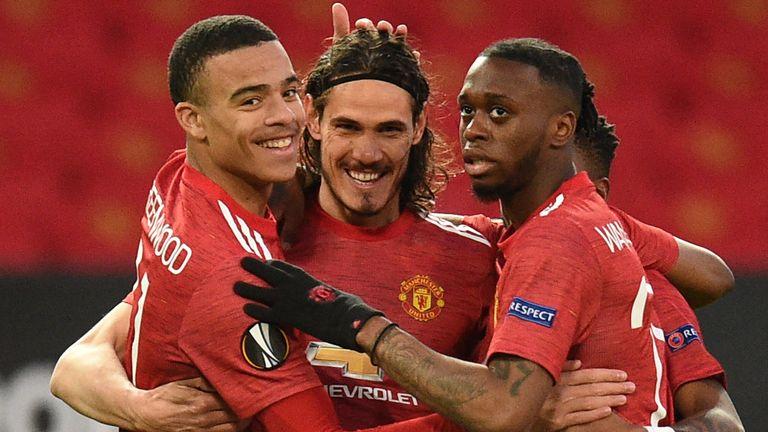 Edinson Cavani celebrates scoring for Man Utd vs Granada