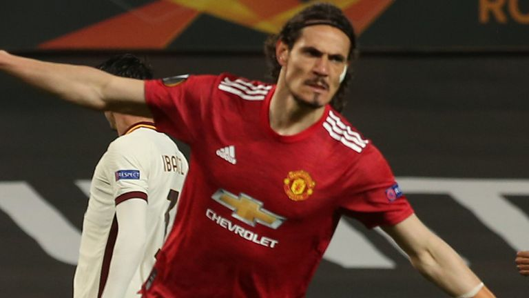 Edinson Cavani equalises for Man Utd against Roma in Europa League semi-final first leg