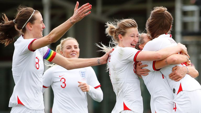 England Women celebrate a goal vs Northern Ireland