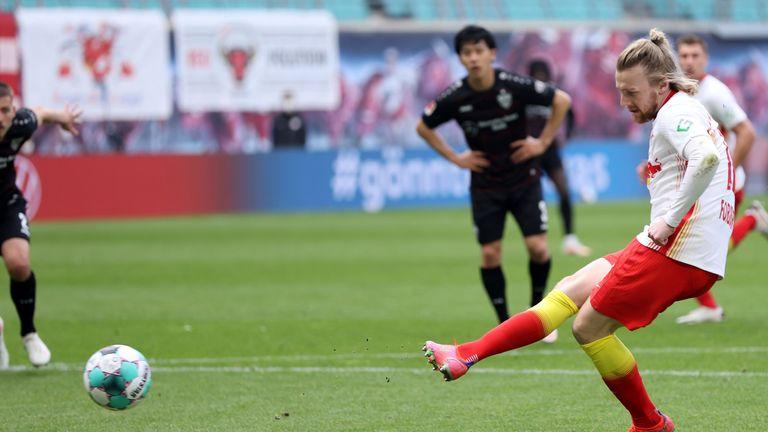 Emil Forsberg tucks in his penalty to extend RB Leipzig's lead