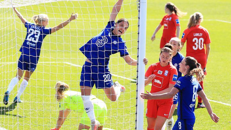 Sam Kerr celebrates her first-half hat-trick