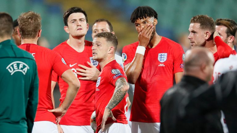 October 14, 2019, Sofia, United Kingdom: Harry Maguire and Tyrone Mings of England look on as racism is reported to UEFA officials during the UEFA Euro 2020 Qualifying match at the Vasil Levski National Stadium, Sofia. Picture date: 14th October 2019. Picture credit should read: David Klein/Sportimage(Credit Image: © David Klein/CSM via ZUMA Wire) (Cal Sport Media via AP Images)