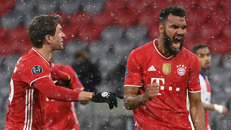Eric Maxim Choupo-Moting celebrates scoring for Bayern Munich against PSG