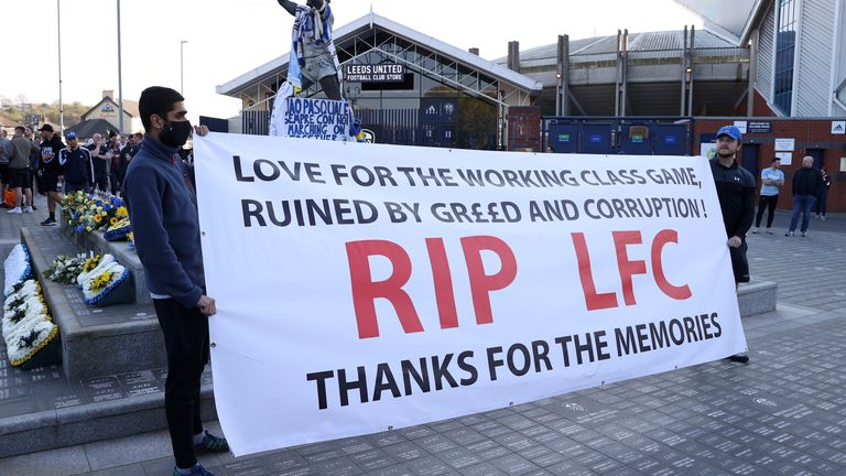 Liverpool fans protest the proposed European Super League before their game at Leeds