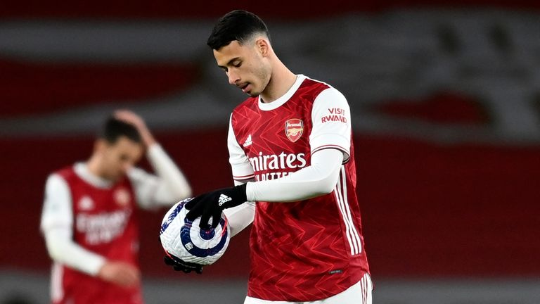 Gabriel Martinelli shows his frustration as Arsenal were beaten by Everton
