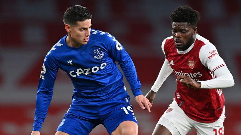 James Rodriguez looks to make something happen for Everton