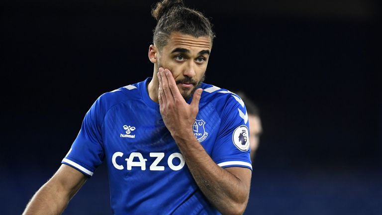Everton's Dominic Calvert-Lewin reacts dejected after the Premier League match at Goodison Park, Liverpool. Picture date: Saturday March 13, 2021.