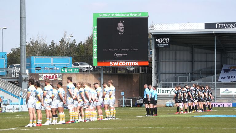 Exeter Chiefs and Wasps players stand for a minutes silence prior to kick off in memory of the Duke of Edinburgh