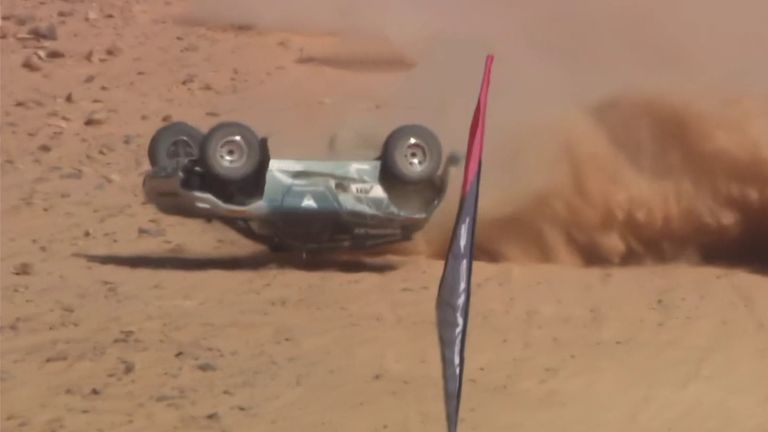 ABT CUPRA driver Claudia Hürtgen has a huge crash during the opening qualifying session of Extreme E, sending her car into a barrel roll.