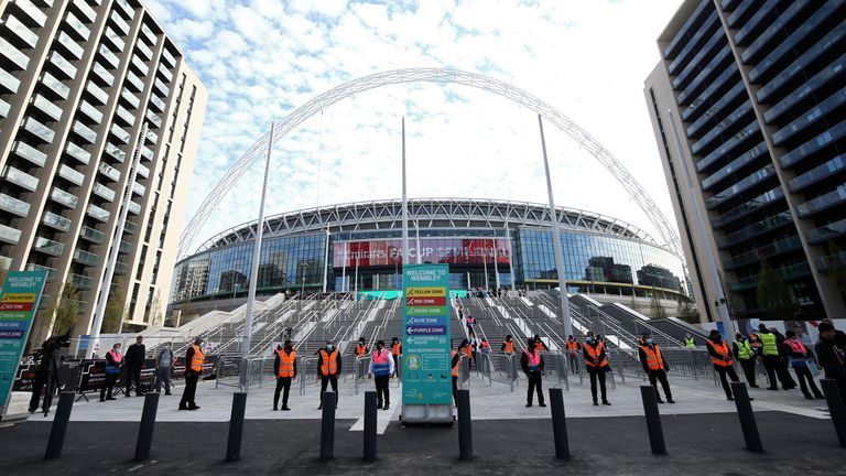 Stewards in PPE outside the stadium ahead of the FA Cup semi-final match, as 4,000 fans are allowed into a trial for coronavirus events, at Wembley Stadium, London