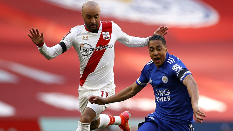 Southampton's Nathan Redmond (left) and Leicester City's Youri Tielemans battle for the ball