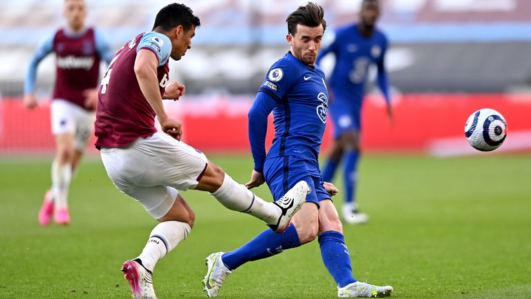Balbuena was sent off for following through with his clearance and catching Chilwell's calf