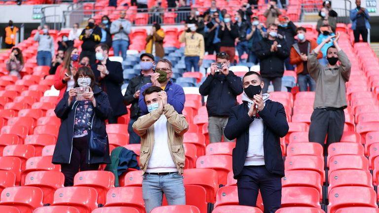Fans applause the players prior to kick-off during the FA Cup semi final match at Wembley Stadium, London.