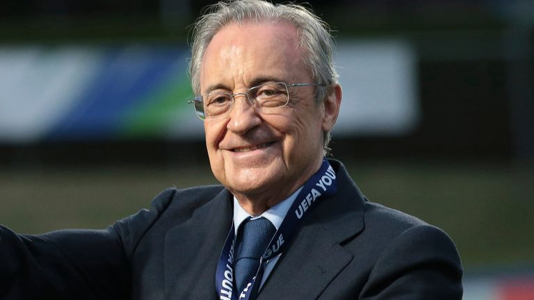 August 25, 2020, Nyon, United Kingdom: Florentino Perez pictured with the trophy following the UEFA Youth League match at Colovray Sports Centre, Nyon. Picture date: 25th August 2020. Picture credit should read: Jonathan Moscrop/Sportimage