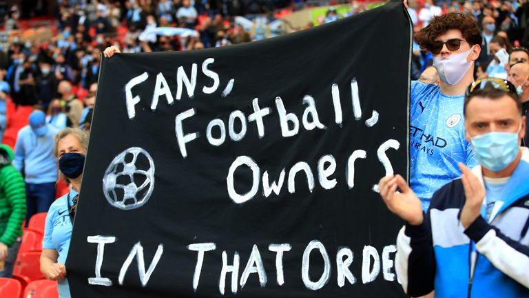 City supporters display a banner inside Wembley amid the fallout from the European Super League
