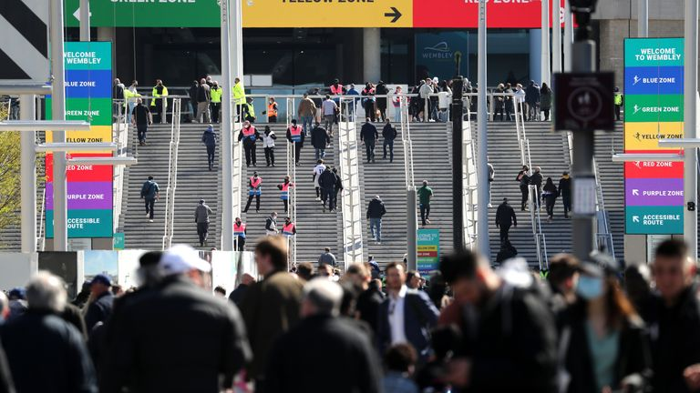 Supporters make their way down Wembley Way before entering the stadium