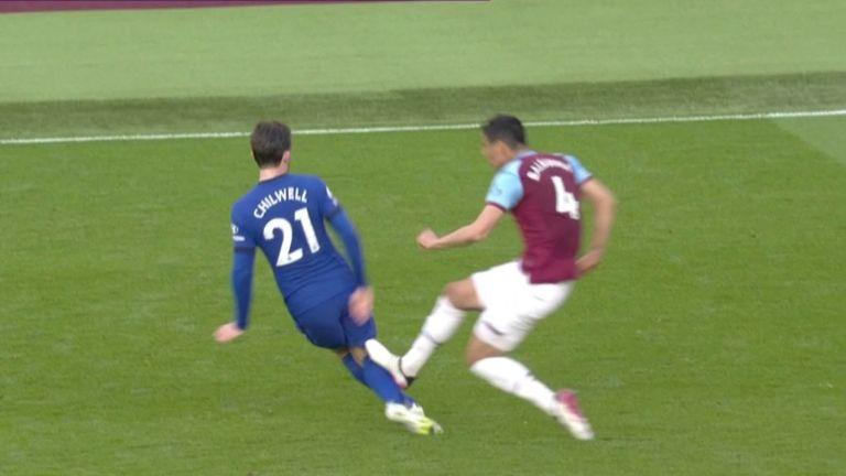 West Ham's Fabien Balbuena was sent off for this challenge on Chelsea's Ben Chilwell.