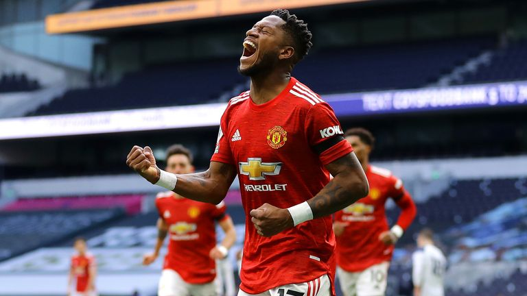 Fred celebrates his equaliser for Man Utd