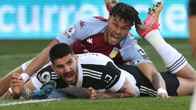 Tyrone Mings tangles with Aleksandar Mitrovic