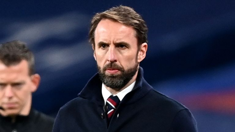 England manager Gareth Southgate during the 2022 FIFA World Cup Qualifying match at Wembley Stadium, London. Picture date: Wednesday March 31, 2021 (PA)