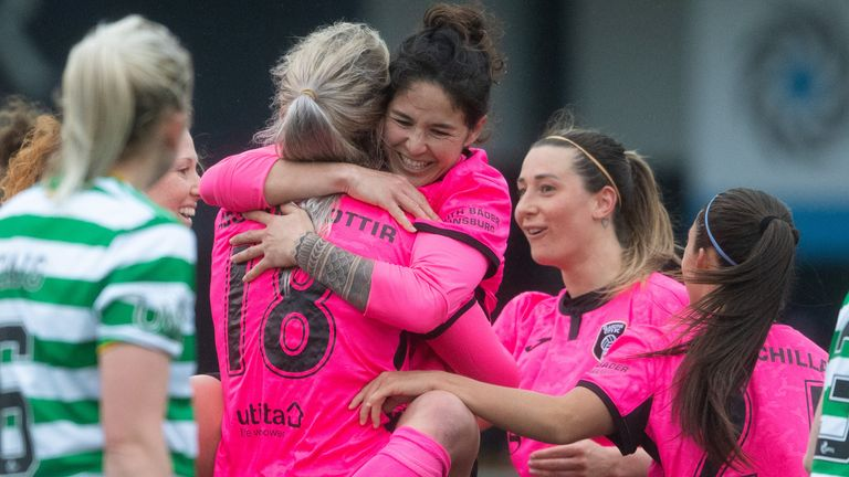 Arna Sif Asgrimsdottir celebrates her goal as Glasgow City beat Celtic on the return of the Scottish Women's Premier League