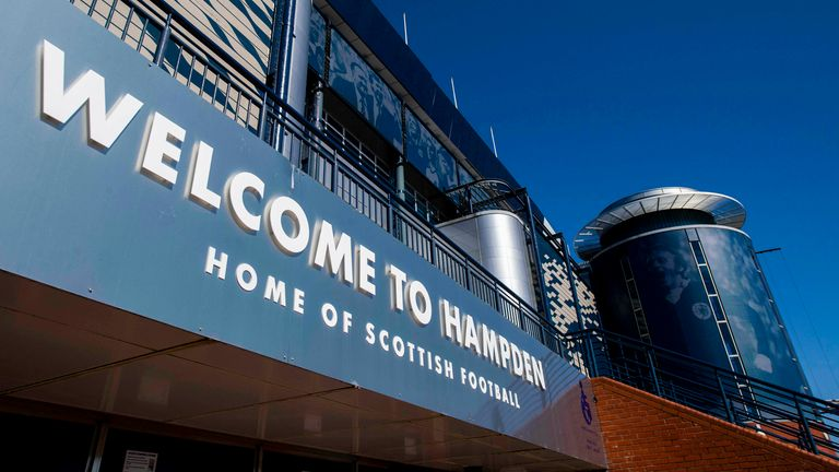 SNS - GLASGOW, SCOTLAND - APRIL 02: Hampden Park is pictured on April 02, 2021, in Glasgow, Scotland. (Photo by Craig Foy / SNS Group)