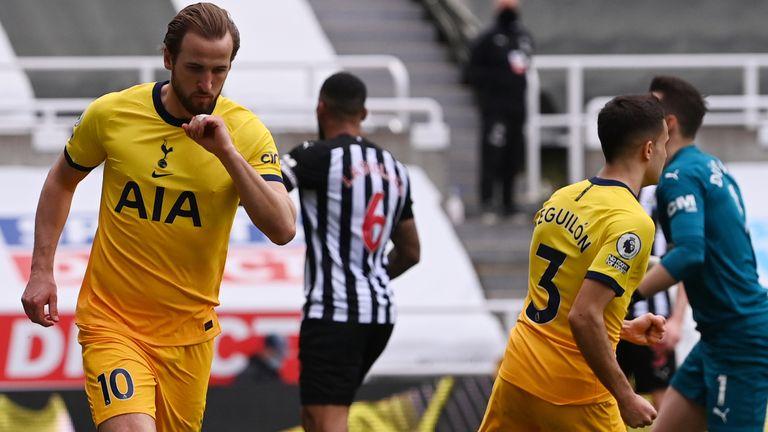 Harry Kane celebrates equalising for Tottenham against Newcastle