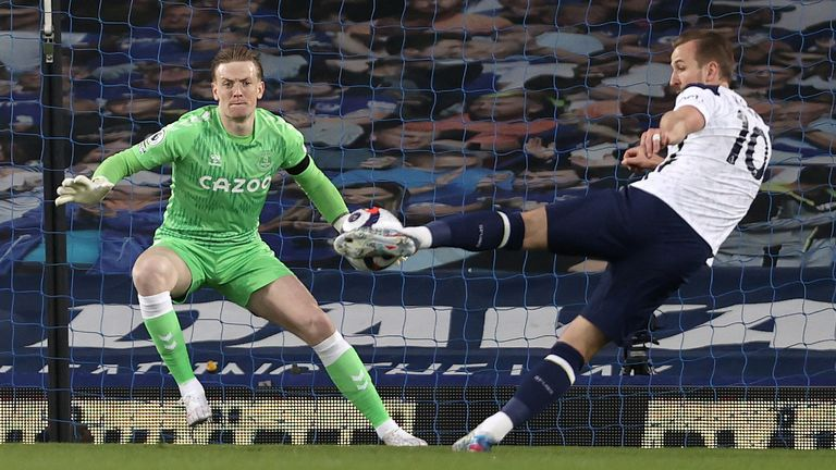 Harry Kane opens the scoring at Goodison
