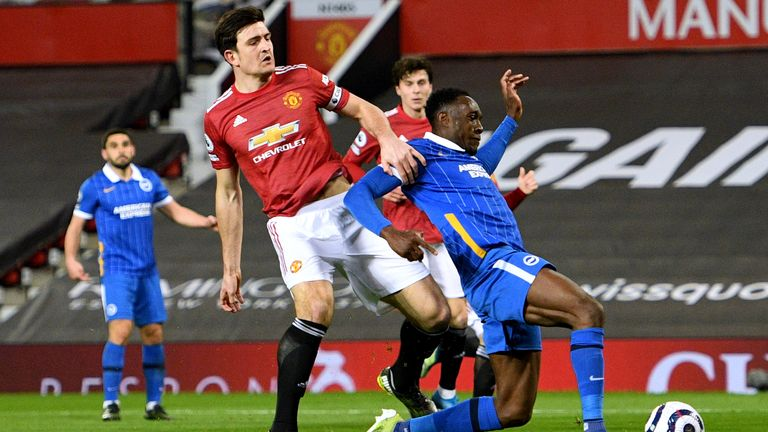 Harry Maguire brushed Welbeck off the ball during a second-half incident