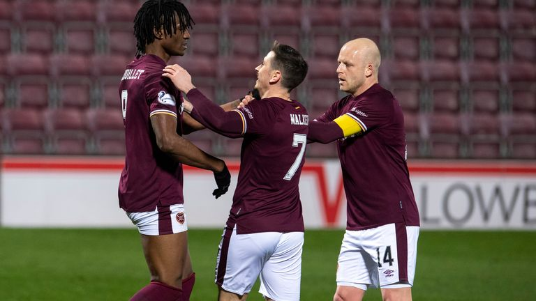 Hearts put themselves in position to clinch the title with a 6-0 Friday night win over Alloa
