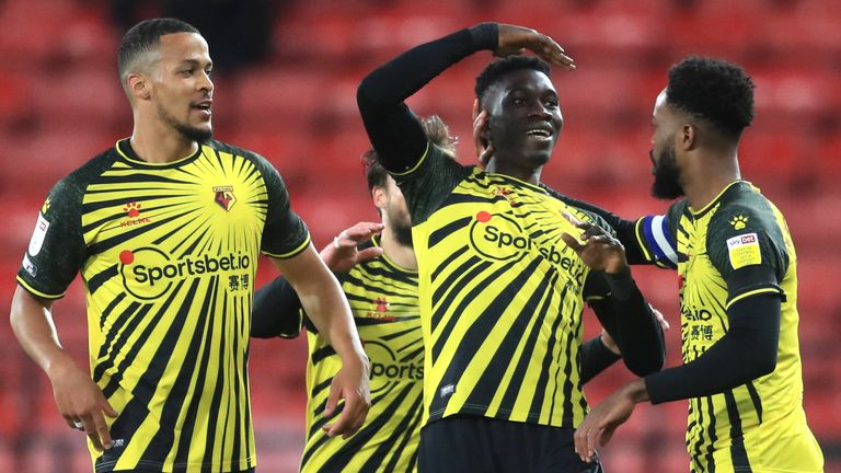 Ismaila Sarr celebrates giving Watford the lead against Reading