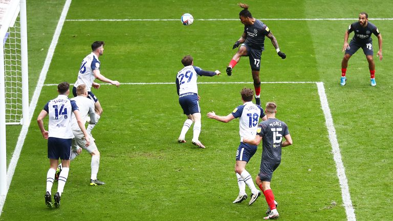 Toney became just the third player to reach 29 goals in a Championship season with this header in the 5-0 demolition of Preston.