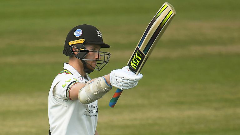 James Bracey of Gloucestershire celebrates after reaching his half century