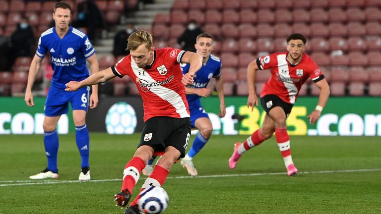 Southampton's James Ward-Prowse scores from the penalty spot against Leicester