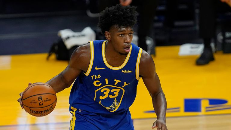 AP - Golden State Warriors center James Wiseman (33) dribbles against the Utah Jazz during the first half of an NBA basketball game in San Francisco, Sunday, March 14, 2021. (AP Photo/Jeff Chiu)