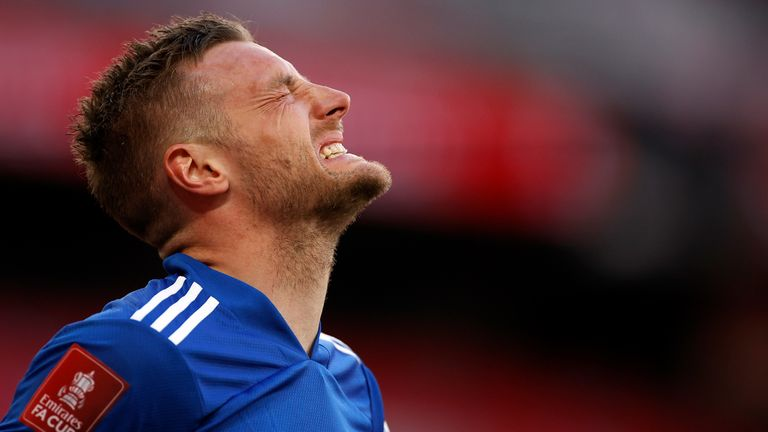 Jamie Vardy came closest to breaking the deadlock in a goalless first half