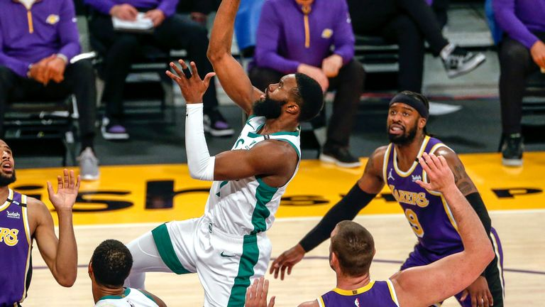 Jaylen Brown was the star as Boston avenged January defeat to their old rivals the LA Lakers to maintain their impressive run of form. (AP Photo/Ringo H.W. Chiu)