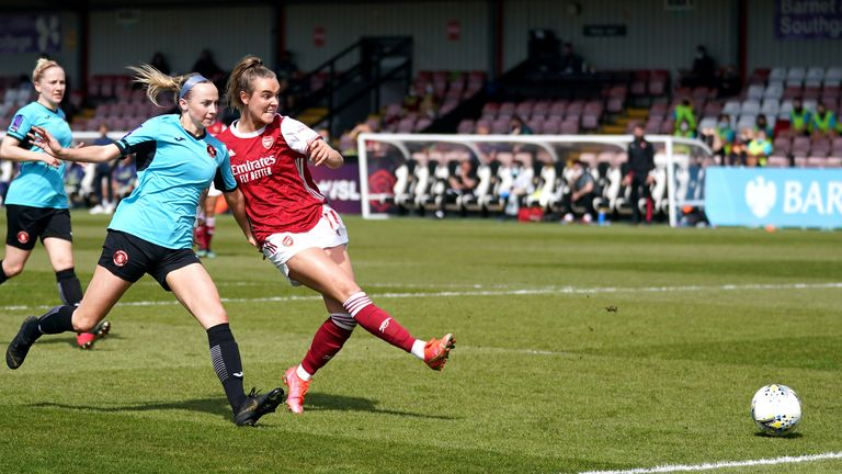 Arsenal's Jill Roord scores her side's fifth goal of the game in the Women's FA Cup fourth-round win over Gillingham