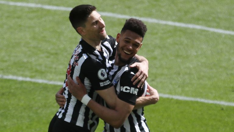 Newcastle United's Joelinton celebrates scoring his side's second goal against West Ham