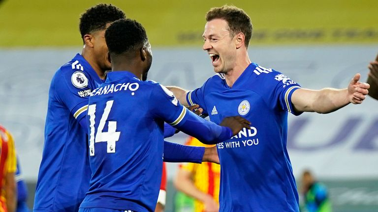 Leicester's Jonny Evans celebrates after scoring their second goal against West Brom