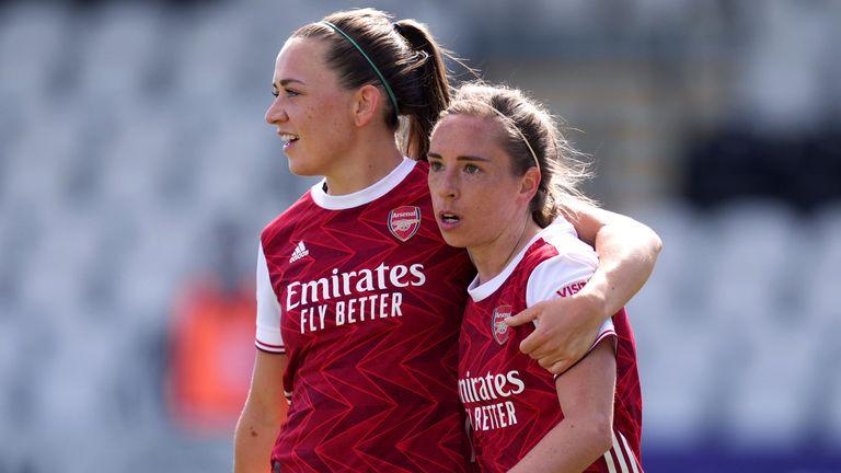 Jordan Nobbs celebrates scoring Arsenal's second goal of the game with teammate Katie McCabe