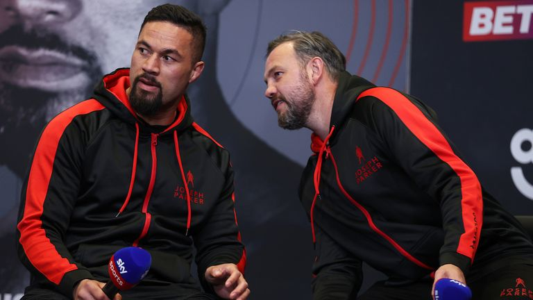 *** FREE FOR EDITORIAL USE ***.Dereck Chisora and Joseph Parker during their final Press Conference ahead of their Heavyweight Contest on Saturday Night..29 April 2021.Picture By Mark Robinson Matchroom Boxing. .
