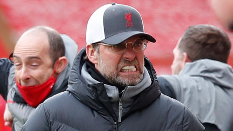Jurgen Klopp reacts after Liverpool's late winner