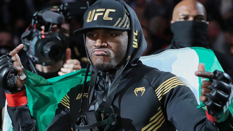 Kamaru Usman of Nigeria walk out during introductions to fight Jorge Masvidal of the United States during the Welterweight Title bout of UFC 261 at VyStar Veterans Memorial Arena on April 25, 2021 in Jacksonville, Florida. (Photo by Alex Menendez/Getty Images)