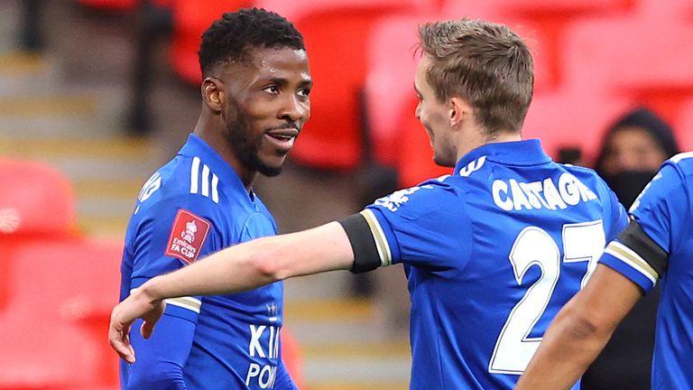 Kelechi Iheanacho celebrates breaking the deadlock for Leicester