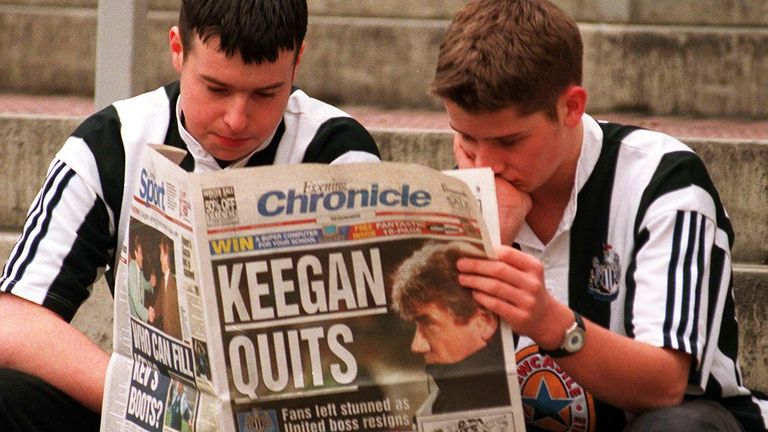 Newcastle fans are left stunned as Keegan quits the club in February 1997
