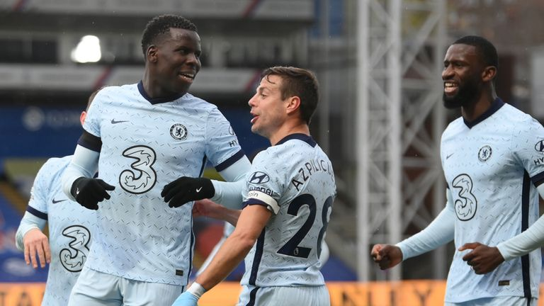 Kurt Zouma is congratulated on heading in Chelsea's third
