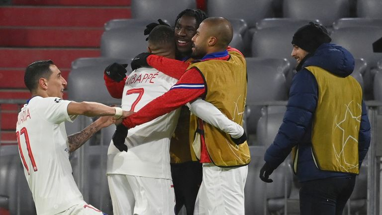Kylian Mbappe celebrates with PSG team-mates after scoring the winner vs Bayern Munich