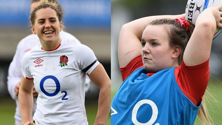 Red Roses scrum-half Claudia MacDonald (left) and hooker Lark Davies (right) look ahead to Saturday's Six Nations final vs France
