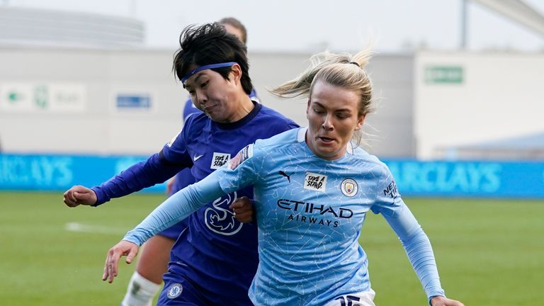 Man City Women's Lauren Hemp and Chelsea Women's Jo So-Yun in action during a top-of-the-table WSL clash